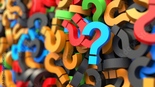 Fotografie, Obraz Colored question marks background, FAQ Concept. 3D Rendering