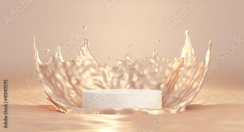 Fotografie, Obraz 3D beige pedestal podium with liquid splash crown