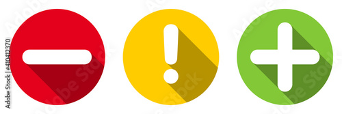 Obraz Set of flat round minus sign, exclamation point, plus sign icons, buttons with long shadow isolated on white background. Vector illustration. - fototapety do salonu