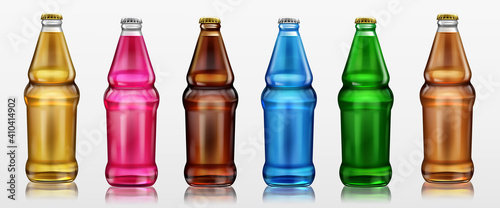 Glass bottles with different drinks, beer, soda and lemonade. Vector realistic set of beverages in bottles of clear, brown and green glass with metal cap isolated on white background © klyaksun