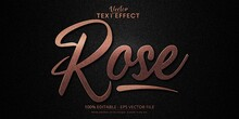 Luxury Rose Gold Editable Text Effect On Black Canvas Background..