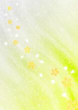 清流と金箔の桜 和風背景素材(黄緑色)