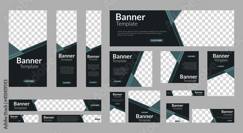Obraz set of creative web banners of standard size with a place for photos. Vertical, horizontal and square template. vector EPS  - fototapety do salonu