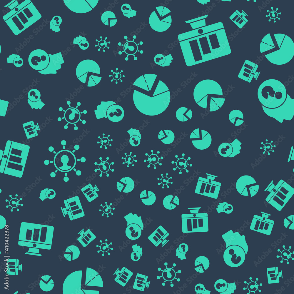 Fototapeta Set Pie chart infographic, Monitor with graph chart, Business network and communication and Human head with question mark on seamless pattern. Vector.