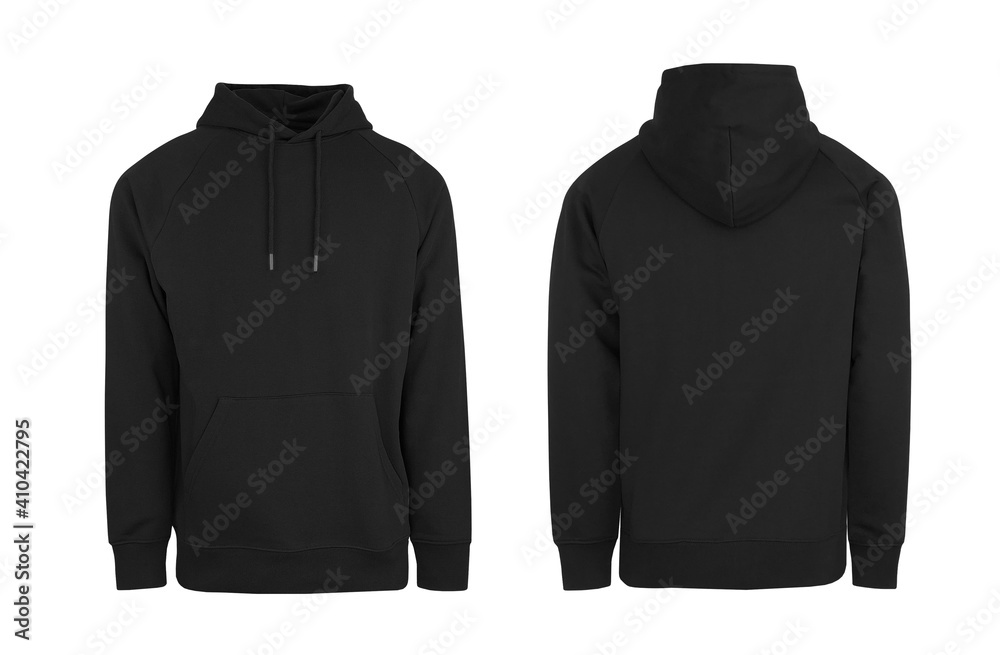 Fototapeta Add your own design. Men's Black Pullover Hoodie with Raglan Sleeve, cutout and Isolated on a White Background for Branding and Personalisation. Photographed on a Medium Male Ghost Mannequin.