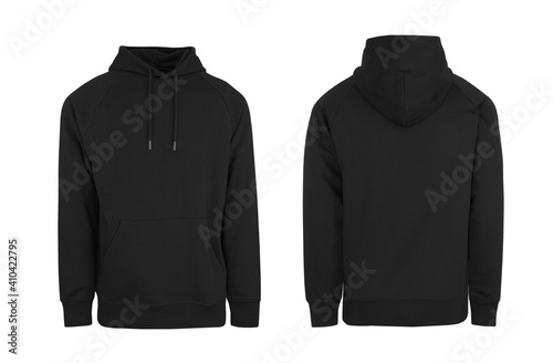 Obraz Add your own design. Men's Black Pullover Hoodie with Raglan Sleeve, cutout and Isolated on a White Background for Branding and Personalisation. Photographed on a Medium Male Ghost Mannequin. - fototapety do salonu