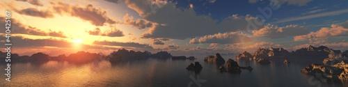 Obraz na plátně Archipelago of rocky islands at sunset, bay in the sun at sunrise, rocks in the