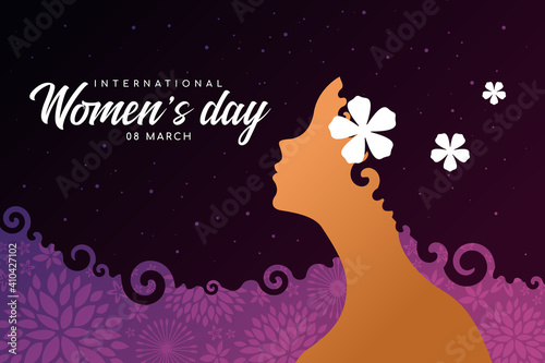 Fotomural International women's day banner - woman Afro Hair with star space texture and P