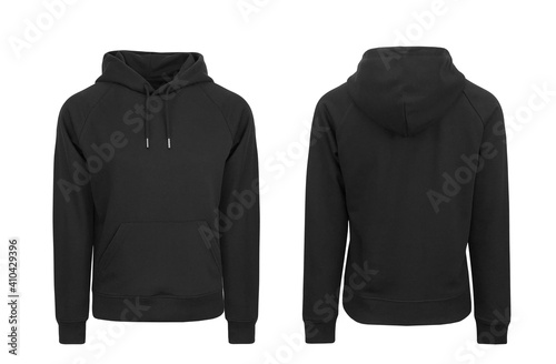 Obraz Add your own design. Women's Black Pullover Hoodie with Raglan Sleeve, cutout and Isolated on a White Background for Branding and Personalisation. Photographed on a Medium Female Ghost Mannequin. - fototapety do salonu