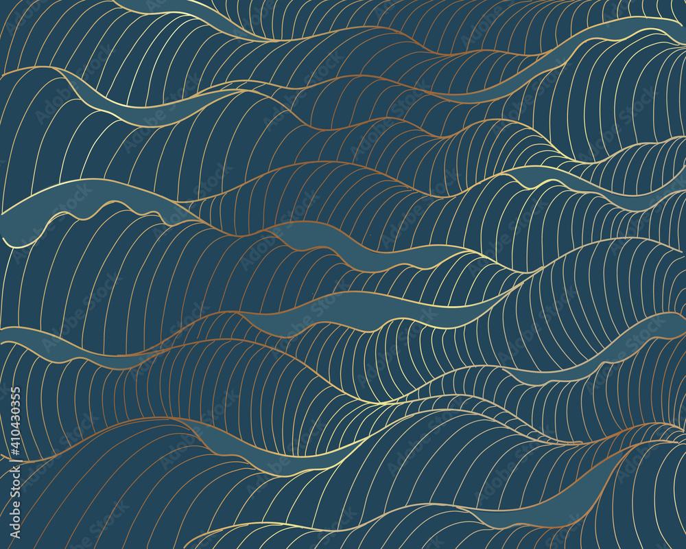 Fototapeta Golden lines, waves pattern on blue background. Sea abstract luxury gold line arts wallpaper. Invitation packaging design, Vector illustration
