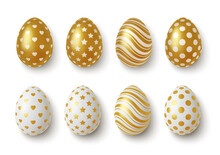 Realistic Gold And White Easter Eggs With Geometric Ornaments. Vector