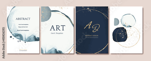 Obraz Set of card with abstract shape, splash gold. watercolor concept. Navy blue poster, invite. Vector decorative greeting card or invitation design background - fototapety do salonu