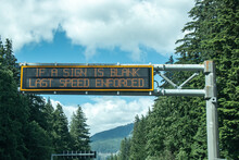 View Of Sign If A Sign Is Blank Last Speed Enforced On A Highway