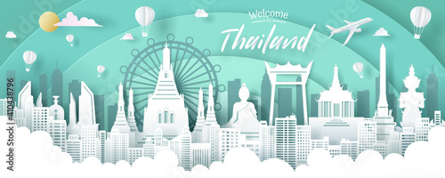 Obraz Vector of Thailand landmark, travel and tourism concept. - fototapety do salonu
