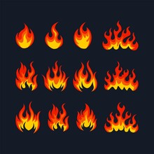 Cartoon Fire Flame Collection Vector. Red Fire, Fire Element, Campfire, Heat Wildfire, Flame Icon Vector Illustration Set.