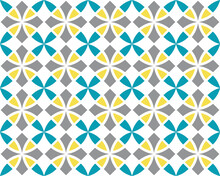 Geometric Seamless Pattern. Vintage Textures. Abstract Seamless Arabesque Vector Pattern. Color Ornament. Gray, Yellow, Blue Trend Colors On White Background. Simple Design Fabric, Textile, Wrapping