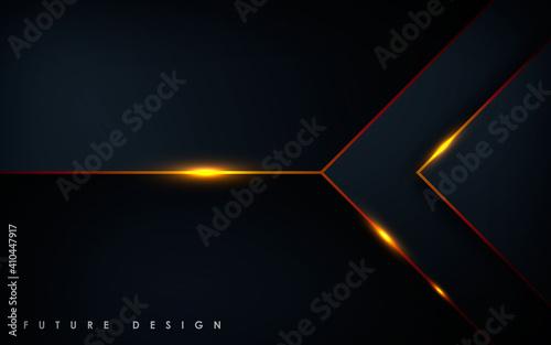 Fotografija Modern black background with gold light effect