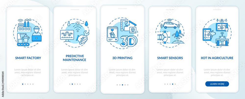 Fototapeta Industry 4.0 tendency onboarding mobile app page screen with concepts. Smart farming, 3D printing, sensors walkthrough 5 steps graphic instructions. UI vector template with RGB color illustrations