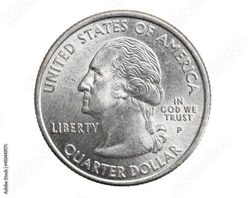 Fototapeta quarter of a US dollar coin isolated on white background obraz