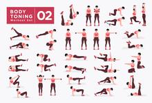Women Workout Set. Women Doing Fitness And Yoga Exercises. Lunges, Pushups, Squats, Dumbbell Rows, Burpees, Side Planks, Situ Ps, Glute Bridge, Leg Raise, Russian Twist, Side Crunch .etc