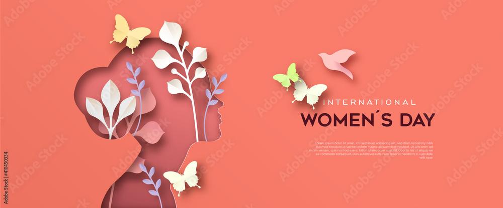 Fototapeta International Women Day paper cut woman card