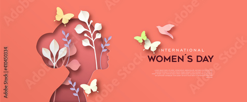 Fotografering International Women Day paper cut woman card