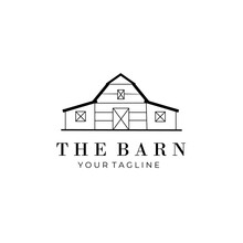 Barn Line Art Logo Vector Symbol Illustration Design