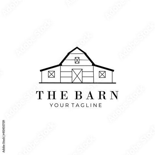 Fotografie, Obraz barn line art logo vector symbol illustration design