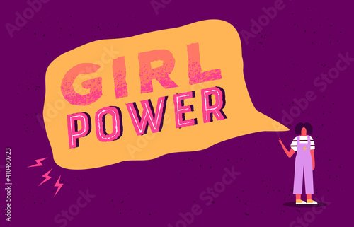 Fototapeta Girl power text quote for women day card obraz