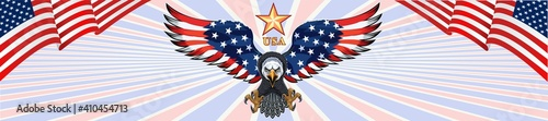 Tablou Canvas American eagle with USA flags