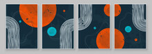 Mid-Century Modern Design. A Trendy Set Of Abstract Black Hand Painted Illustrations For Postcard, Social Media Banner, Brochure Cover Design Or Wall Decoration Background. Vector Illustration.