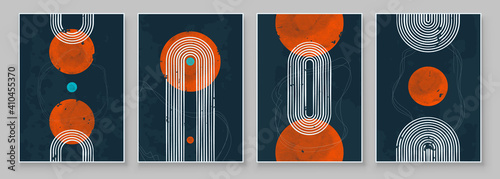 Fototapeta Mid-Century Modern Design. A trendy set of Abstract Black Hand Painted Illustrations for Postcard, Social Media Banner, Brochure Cover Design or Wall Decoration Background. Vector illustration. obraz