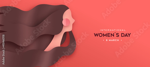 Fotografering Happy Women's Day paper cut woman hair banner