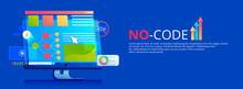 No Code Banner. Vector Concept Illustration.