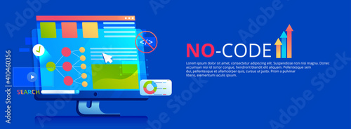 Obraz No code banner. Vector concept illustration. - fototapety do salonu