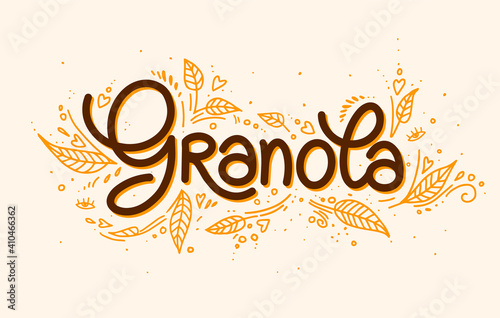 Obraz Granola vector logo. Muesli. Handmade calligraphy. Lettering, leaves with decorative elements. illustration healthy concept logotype. oatmeal porridge - fototapety do salonu