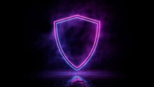 Pink And Blue Neon Light Shield Icon. Vibrant Colored Security Technology Symbol, Isolated On A Black Background. 3D Render