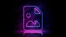 Pink And Blue Neon Light Picture Icon. Vibrant Colored Image Technology Symbol, Isolated On A Black Background. 3D Render