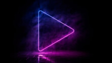 Pink And Blue Neon Light Play Icon. Vibrant Colored Media Technology Symbol, Isolated On A Black Background. 3D Render