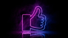 Pink And Blue Neon Light Like Icon. Vibrant Colored Thumbs Up Technology Symbol, Isolated On A Black Background. 3D Render