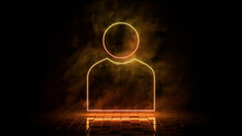Orange And Yellow Neon Light User Icon. Vibrant Colored Technology Symbol, Isolated On A Black Background. 3D Render