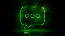 Green Neon Light Sms Icon. Vibrant Colored Technology Symbol, Isolated On A Black Background. 3D Render