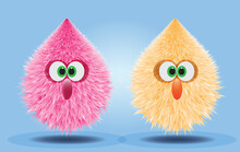 Fluffy And Furry Pompons In Pink And Orange Yellow Color