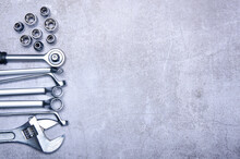 Wrench Repair Tool Car On Concrete Background, Top View Space For Text