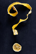 Question Mark Of Lemon Peel And Lime Slice. Dried Citrus Fruit Peel And Slice.