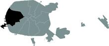 Black Location Map Of Frunzyenski Raion (Frunze District) Inside Gray Map Of Minsk, Belarus