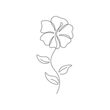 One Line Daffodil Flower Logo. Simple Floral Drawing Minimalist Botanical Art For Print, Tattoo. Vector Continuous Line Illustration