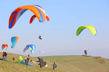 Paragliders Launching At Milk Hill, Wiltshire