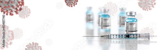 Fotografering Doctor or Nurse Holding Coronavirus COVID-19 Vaccine Vial Against Molecule Backg