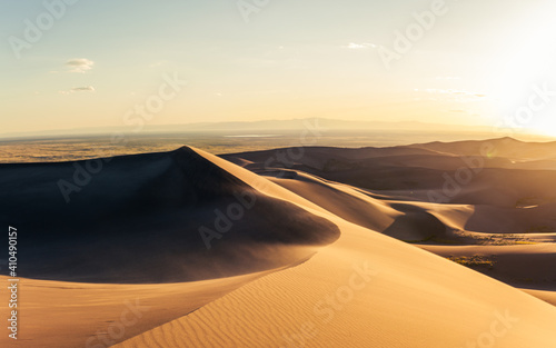 Fototapety, obrazy: Panorama of windy sandy dunes at golden sunset  in great sand dunes national park in america
